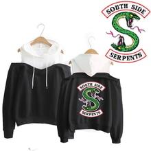 Riverdale South Side Serpents Hoodie Southside Serpents Off-Shoulder Women Sweatshirts Lon
