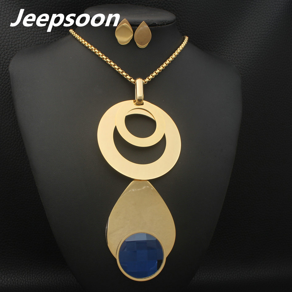 Minmin 316l Stainless Steel Jewelry Sets For Women Berg Crystal Drop Kalung Wanita Silver Dolphin 004 Wholesale Fashion 4 Color Round Pendant Earrings Set Girls Jeepsoon