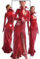Fashion Women 2015 Sexy Long Sleeve Latex Gowns Red Rubber Vestidos Dress Fetish Slim Evening Dresses