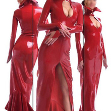 Long Dresses Women Sexy Full Sleeve Latex Gowns Red Fetish Rubber Vestidos Maxi Dress Plus Size