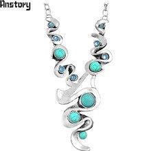 Экзотические casecade подвеска камень Цепочки и ожерелья для Для женщин Винтаж Античная Посеребренная Модные украшения N022