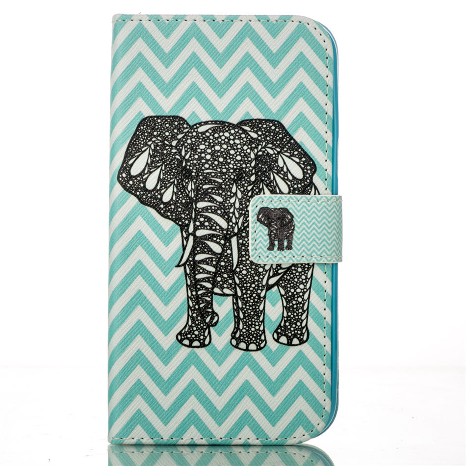 Leather Case For Fundas Apple iphone X XR Xs Max 8 7 6 6S Plus 5 5S SE 7Plus Coque Animals Elephant Wallet Stand Cover Capa D02G in Flip Cases from Cellphones Telecommunications
