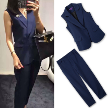 Tracksuits Promotion Blends Sleeveless Single Breasted V-neck 2018 New Women's Suits Slim Suit Vest Nine Pants Two Women