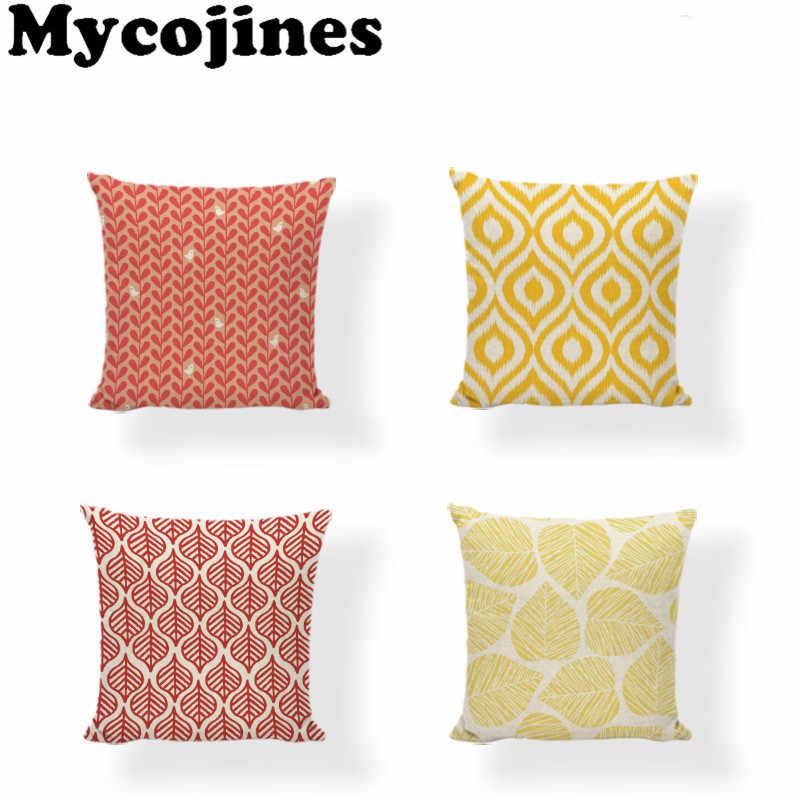 פשוט סגנון כיסוי כרית 43*43 cm צהוב Brige גיאומטרי תרשים משאיר סלון חדר שינה ספה רוק כיסא דקור כרית מקרה