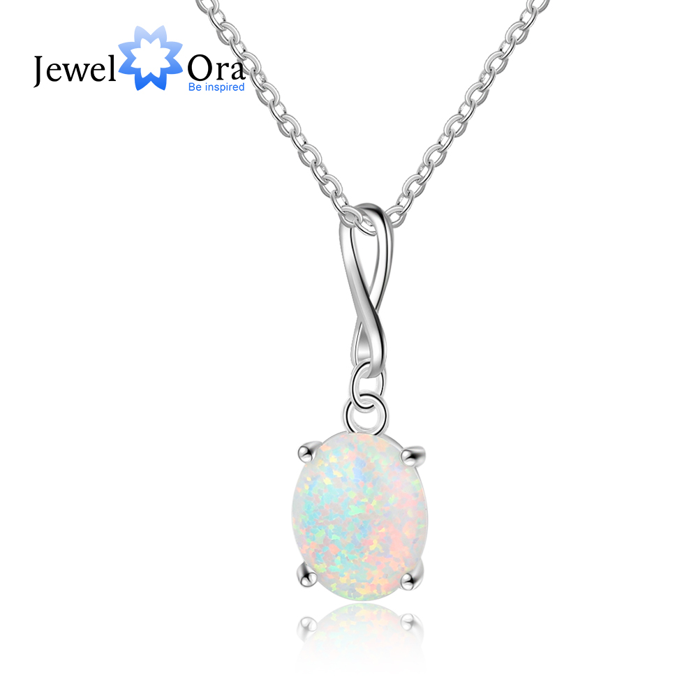 Oval Opal Stone Infinity Love Necklaces & Pendants For Women 925 Sterling Silver Party Jewelry (JewelOra NE103168)