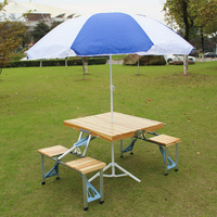 Portable Wooden Aluminium Alloy Fold Picnic Desk with Four Seats Hot Sale Occasional Table Beach Chair Leisure Chair