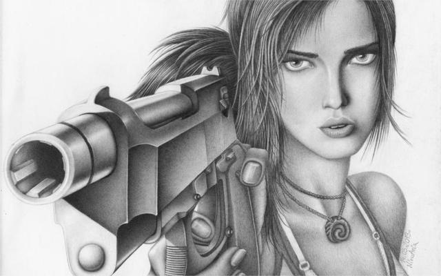 cc364f069e Lara Croft Tomb raider lara croft lápis de desenho da arte do jogo rosto  olhos arma
