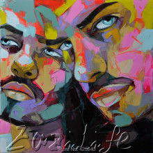 Palette knife painting portrait Palette knife Face Oil painting Impasto figure on canvas Hand painted Francoise Nielly 07