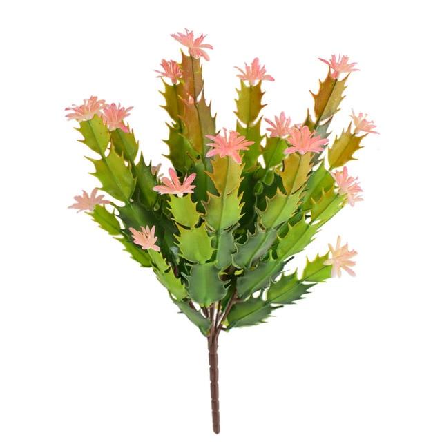 3pcs artificial plastic cactus fake flowers green succulent plants