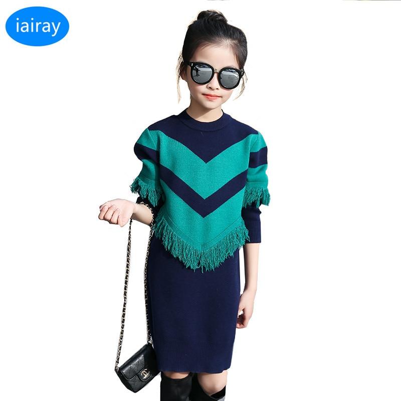 le dernier 2304f d93a7 € 17.17 30% de réduction Iairay style coréen filles surdimensionné long  pull robe avec gland rouge rayure enfants pull fille cadeau enfants  vêtements ...
