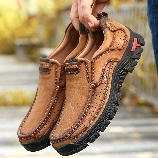 2019 Sıcak Erkek Rahat Kaymaz yürüyüş ayakkabıları İlk Katman Sığır Derisi deri sneakers Erkekler Nefes yürüyüş botları Büyük Boy 38-50