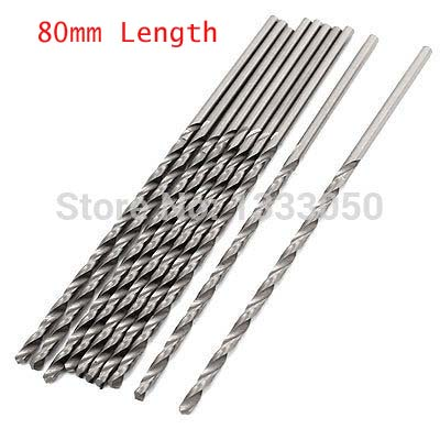 OZE19921102 10pcs High Speed Steel Tip Straight Shank Twist Drill Bit Dia. 0.5/0.6/0.7/0.8/0.9/1.0/1.1/1.2/1.8/1.9mm x 80mm