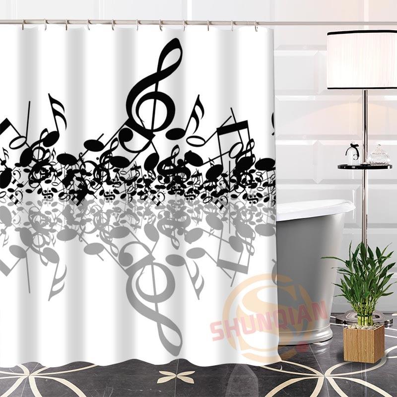 100% Polyester Custom Popular Musical Note Fabric Modern Shower Curtain  Bathroom Waterproof New Arrival H0223