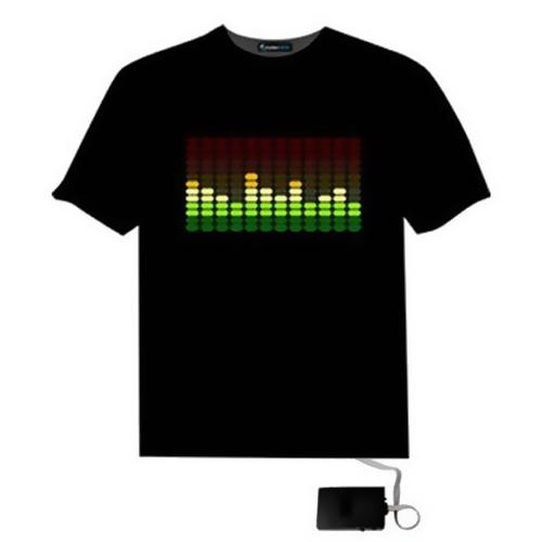Hot Led T-shirt Female Party Rock Disco DJ Audio Activated LED T-shirt Light Up And Down Flashing Equalizer Female T-shirt