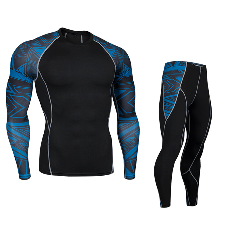 Men Pro Quick Dry Compression Long Johns Fitness Winter Gymming Male Spring Autumn Thermal Underwear Sets