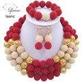 Último Collar de Perlas de La Joyería de Traje del Oro Rojo de Plástico Boda Africana de Nigeria Beads Envío Gratis ABF617