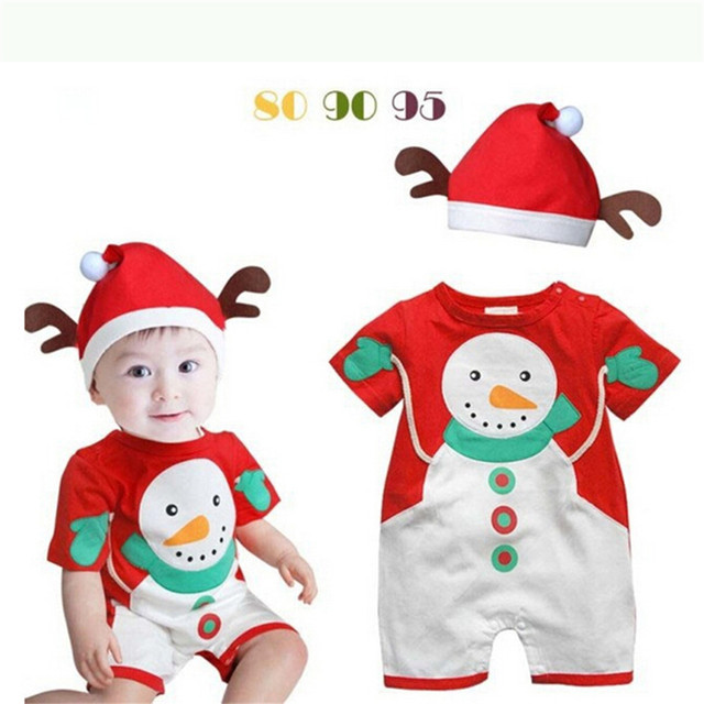 Cute Snowman Christmas Baby Costumes Romper Overall +Hat Children's Clothing Kids Suit Baby New Year Jumpsuits