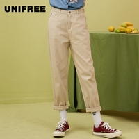UNIFREE2019 summer new top creamy white solid color trend fashion female nine points casual sexy women pants UBB191P050