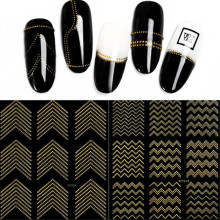Gold Metal 3D Nail Stickers Stripes Wave Line DIY Nail Art Sticker Manicure Adhesive Decal Water Slide Nail Tips Stickers F562 1pcs nail decal and sticker gold silver metal curve strip lines adhesive striping tape multi size 3d stickers nail art diy decor