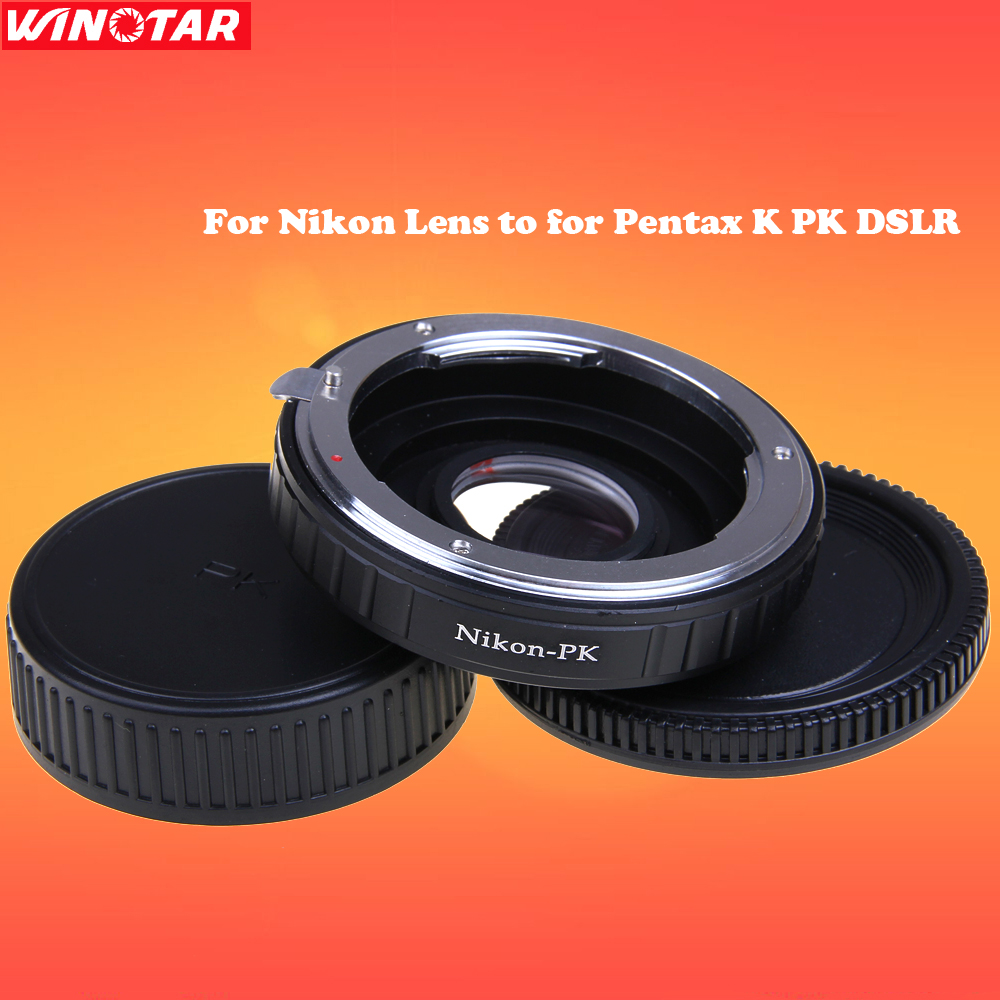 Camera Lens Mount Adapter with Optical Glass for Nikon Lens to for Pentax K PK DSLR