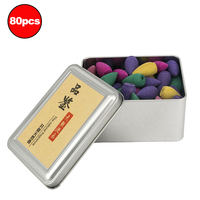 Mixed 80Pcs Colored Smoke Backflow Incense Cones Natural Aroma Reflux Tower Incense Bullets Lavender Jasmine Green Tea Rose