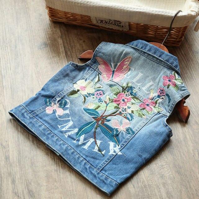 4787785f7 Children Girls Floral Denim Vests Fashion Kids Baby Butterfly ...