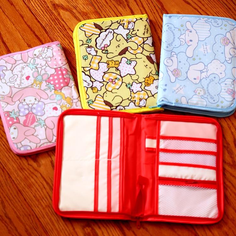 Cute Hello Kitty My Melody Cinnamoroll Pompompurin Storage Document Folder Bag Cartoon Credit Card Holder Storage Package