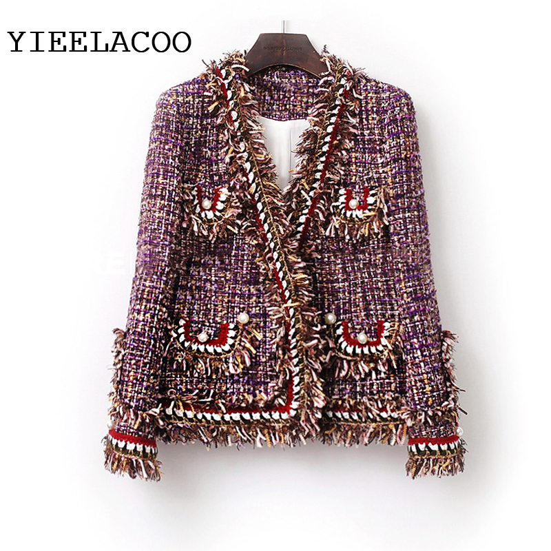 Purple Tweed women Jacket one piece Spring Autumn women s jacket New Small Fragrance Burr ladies