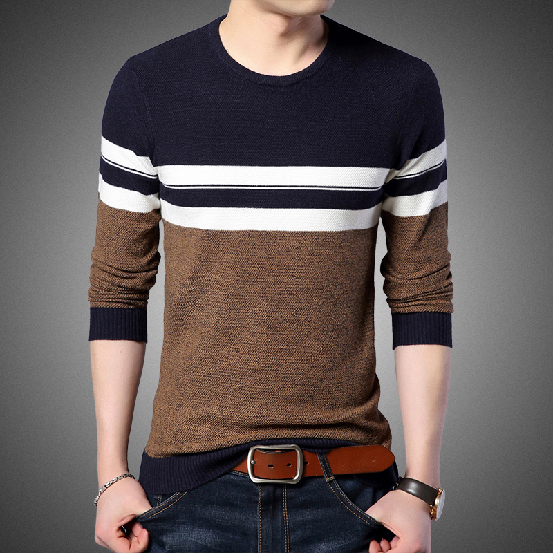 2019 New Fashion Brand Sweater Men Pullovers Striped Slim Fit Jumpers Knitwear Winter Woolen Korean Style Casual Clothing Male