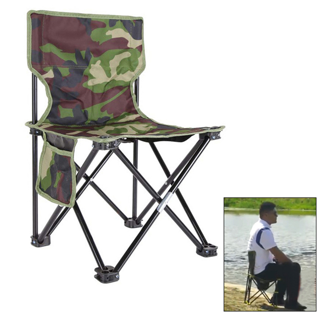Outdoor Fishing Chair Camouflage Folding Chair Camping Hiking Chair Beach Picnic Rest Seat Stool 33 x 33 x 53cm 1