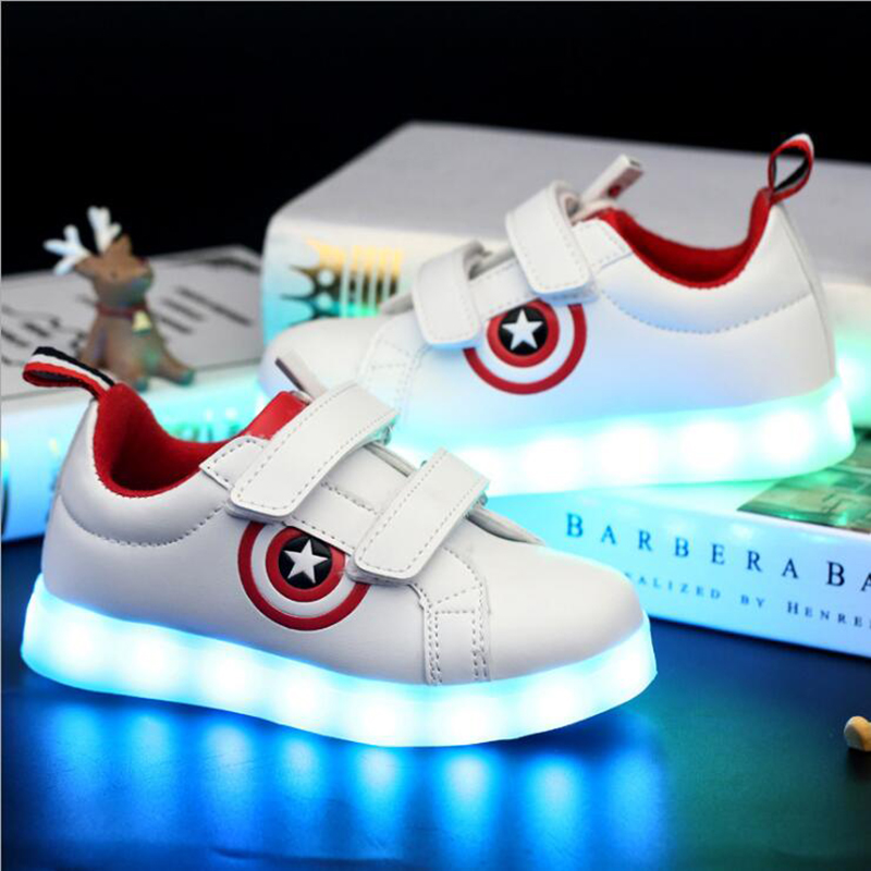 boy children luminous sneakers USB charging sport casual LED kids kids shoes captain america girls with