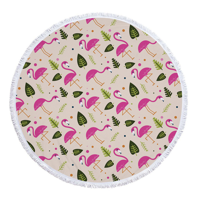 HTB1EM4SSXXXXXXEapXXq6xXFXXX9 - Round Style Microfiber Beach Towel - Flamingo With Tassels Design
