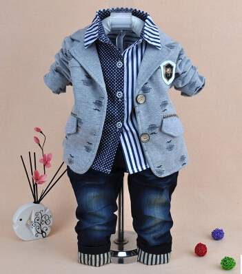 0-5Y boys clothing sets 3pcs for birthday new 2017 children clothes sets blazer+shirt+jeans boys clothes kids spring clothes