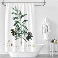Green Leaf Fruit Waterproof Mildew Polyester Shower Curtain Toilet Partition Curtain Bathroom Curtain with Hooks
