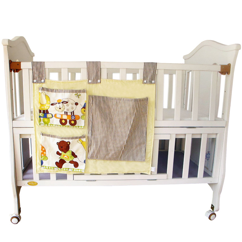 1PC Cotton Baby Bed Hanging Storage Bag, Baby Cot Bed Crib Organizer, Baby Crib Bed Nursery Hanging Storage Bag for Toy Diaper