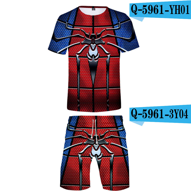 Spriderman Far From Home Men Sets Summer 2019 New Movie Printed Breathable Tracksuits 3d Tshirt And Short Pants Cosplay Suits