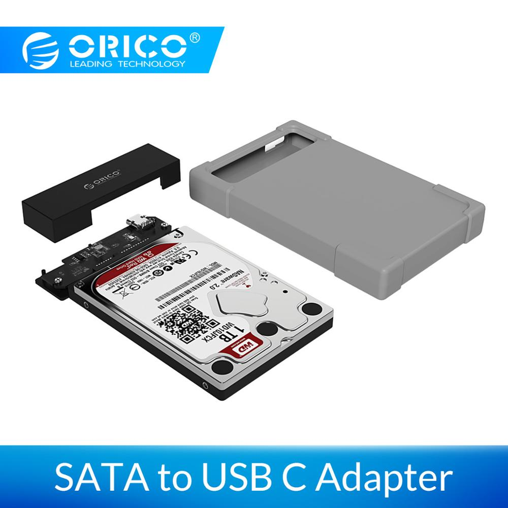 ORICO 2.5 Inch HDD Case SATA To Type USB C 3.1  Hard Drive Enclosure Adapter With Silicone Case Tool Free External HDD Box