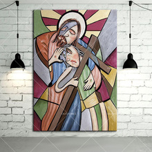 Hand Painted Calligraphy Canvas Pictures Abstract Jesus Potrait Decorative Handmade Fine Wall Art Jesus Kid Cross Oil Paintings
