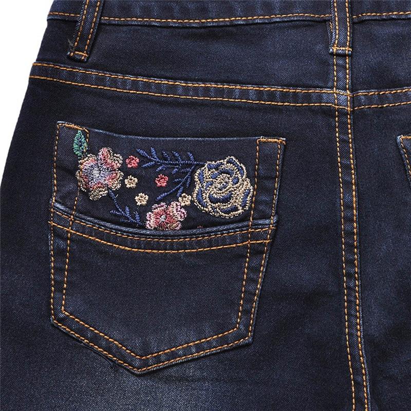 Vaqueros 2017 Vintage Oscuro Denim Bottom Mujeres Elástico Skinny Estilo Pantalones De Azul Retro Bell Cintura Femenino Mediados Bordado 1F1qUA