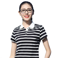 New 2017 Women Summer Short Sleeve Casual Polo shirts Striped Patchwork Turn-Down Collar Feminine Striped Polo shirt Cotton Tops