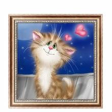 5D Diamond Embroidery Cute Cat Painting Cross Stitch DIY Craft Mosaic Home Decor 30cm*30cm #K400Y#