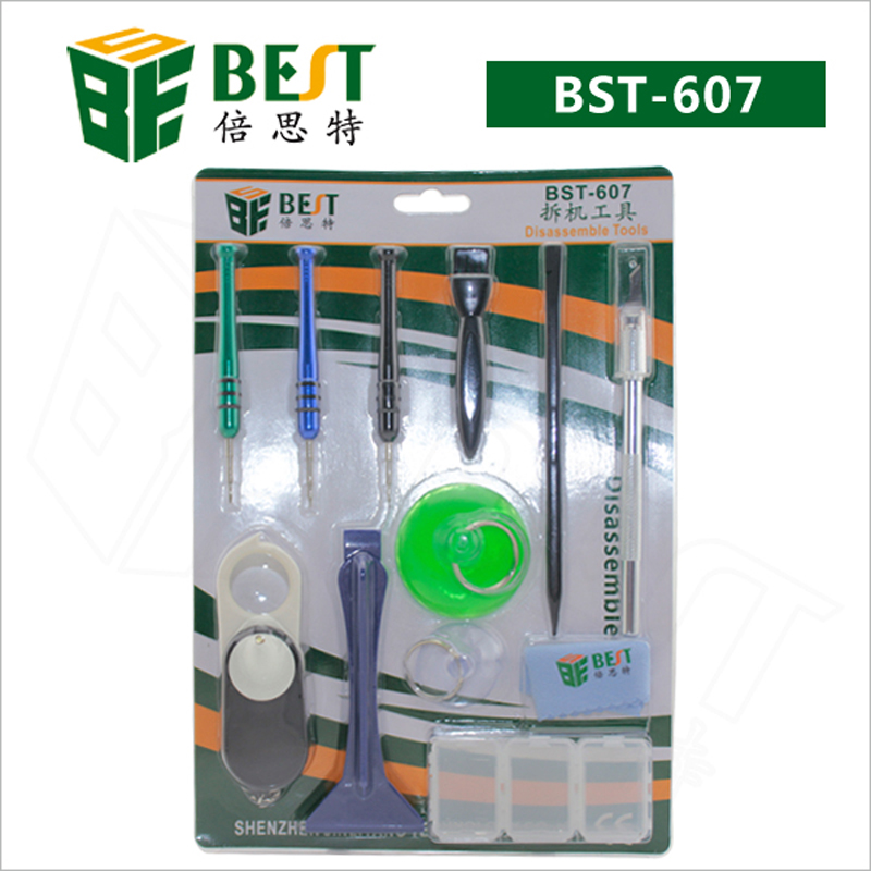 BST-607 9 in 1 Mobile Phone Repair Tools Kit Disassemble Tools Screwdriver for iPhone Samsung Cell Phone