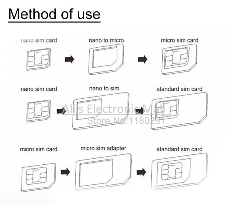 4 in 1 Micro + Standard + Nano Sim Card Adapters + Eject Pin Key - micro sim template