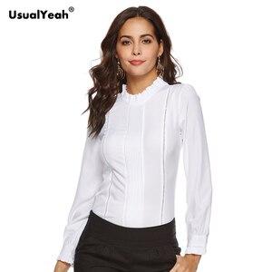 Женская блузка с оборками и воротником-стойкой, элегантная Облегающая рубашка с вырезами спереди, боди на молнии, топы, офисные белые рубашк...