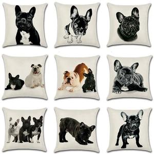 Pug Pillow Cushion Cover Frenc
