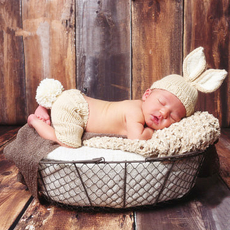 Newborn Photography Props Baby Bunny Costume Photography Crochet Knitted Baby Rabbit Hat Outfit Baby Photo Props Accessories