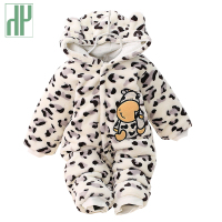 Winter Infant Clothing Cute Winter Warm Longsleeve Coral Fleece Infant Leopard Cow Baby Animals Clothes