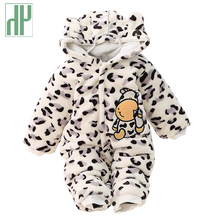 цена на  Winter infant clothing cute winter warm longsleeve coral fleece infant Leopard cow baby animals clothes baby boy girl rompers