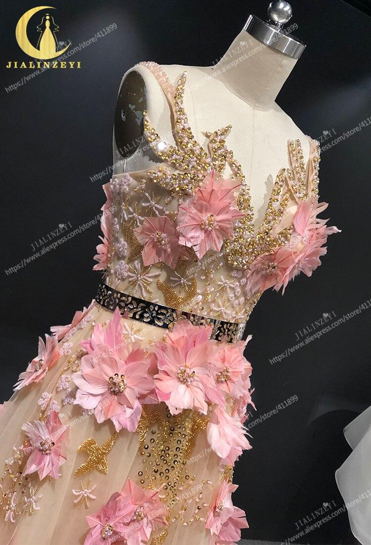 JIALINZEYI image réelle Champagne avec des fleurs de plumes roses longueur de plancher Elie saab robes formelles robes de soirée de fête - 4