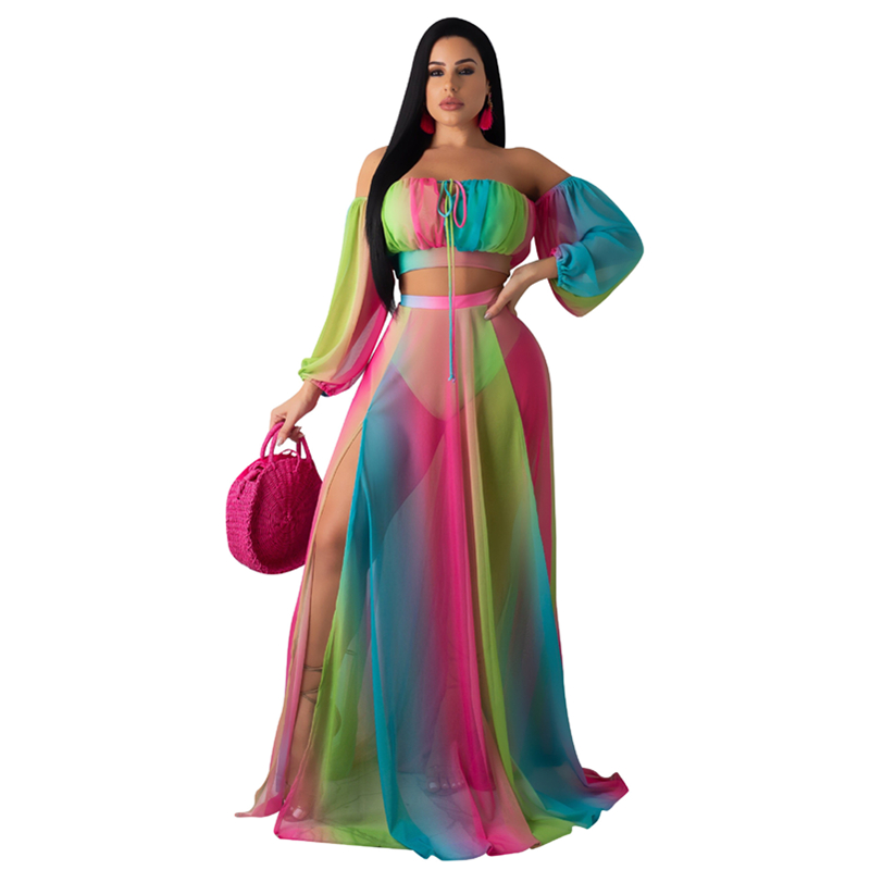 Women Two Piece Outfits Crop Top And Hight Slit Skirt Sexy Off Shoulder Rainbow Color Mesh Sets Casual Holiday See Though Outfit